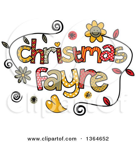 Clipart of Colorful Sketched Christmas Fayre Word Art - Royalty Free Vector Illustration by Prawny