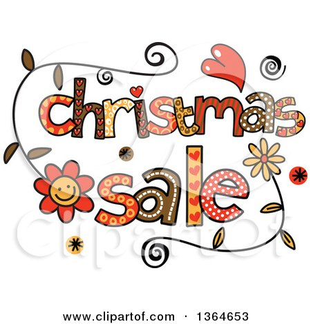 Clipart of Colorful Sketched Christmas Sale Word Art - Royalty Free Vector Illustration by Prawny