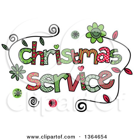 Clipart of Colorful Sketched Christmas Service Word Art - Royalty Free Vector Illustration by Prawny