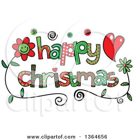 Clipart of Colorful Sketched Happy Christmas Word Art - Royalty Free Vector Illustration by Prawny