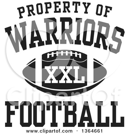 Clipart of a Black and White Property of Warriors Football ...
