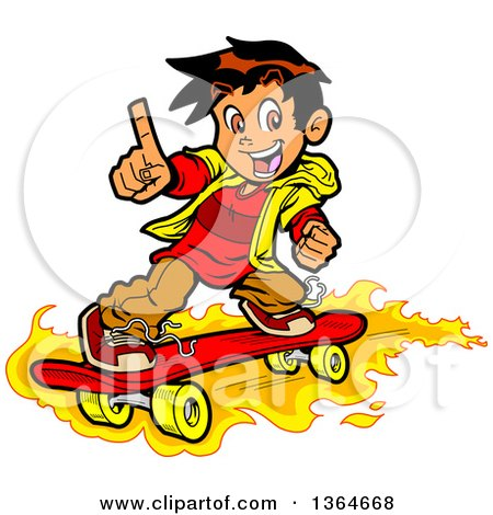 Clipart of a Cartoon Boy Holding up a Finger and Skateboarding on Flames - Royalty Free Vector Illustration by Clip Art Mascots