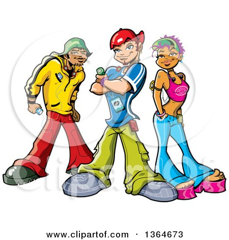 Clipart of a Cartoon Group of Funky Urban Teenagers Posing with Mp3 Players - Royalty Free Vector Illustration by Clip Art Mascots
