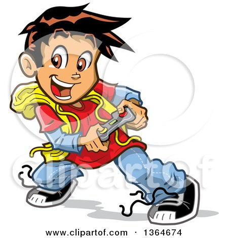 Clipart of a Cartoon Excited Boy Playing Video Games - Royalty Free Vector Illustration by Clip Art Mascots