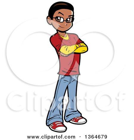 Clipart of a Cartoon Casual Black Teen Boy Standing with Folded Arms - Royalty Free Vector Illustration by Clip Art Mascots
