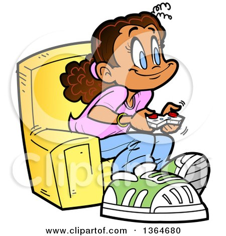 Clipart of a Cartoon Happy Girl Sitting in a Chair and Playing Video Games - Royalty Free Vector Illustration by Clip Art Mascots
