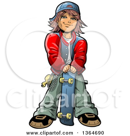 Cartoon Brunette Teenage White Boy Stnading with a Skateboard Posters, Art Prints