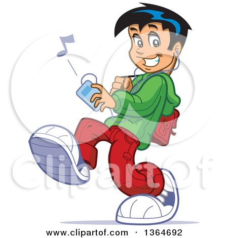 Cartoon Teenage School Guy Walking and Listenting to Music on an Mp3 Player Posters, Art Prints