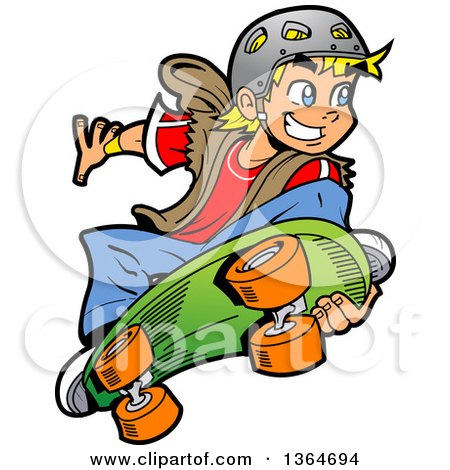 Clipart Of A Cartoon Happy Blond White Boy Holding Up A