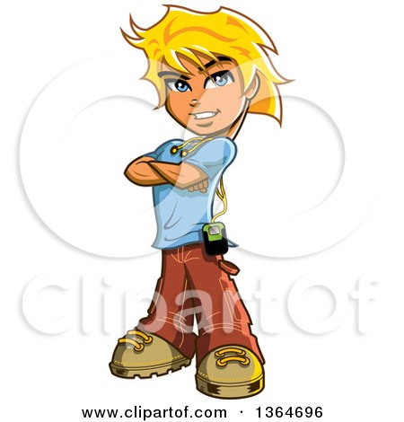 Clipart Of A Cartoon Blond Caucasian Teenage Guy Standing With Folded Arms And A Music Player Royalty Free Vector Illustration