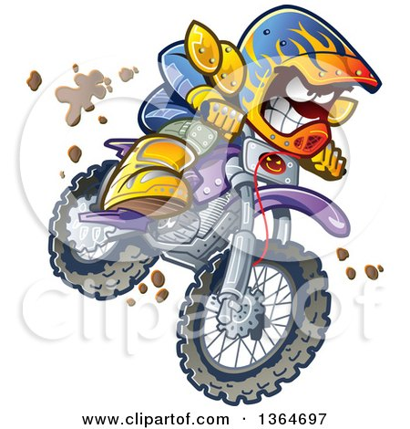 Cartoon Aggressive Man Jumping and Riding a Dirt Bike with Mud Splashing Everywhere Posters, Art Prints