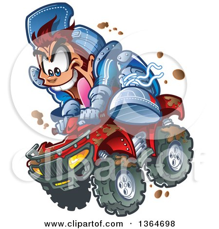 cartoon crazy brunette white man jumping an atv quad through the mud