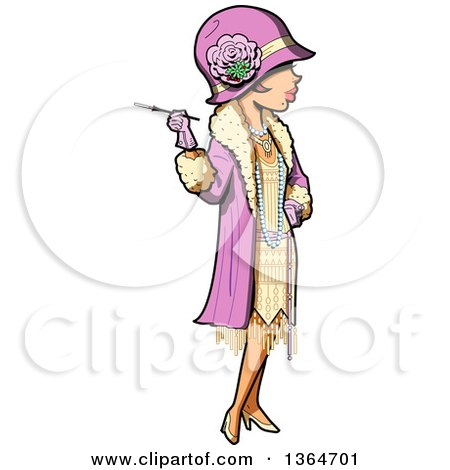 Clipart of a Cartoon Roaring 20s Socialite Woman Holding a Cigarette - Royalty Free Vector Illustration by Clip Art Mascots