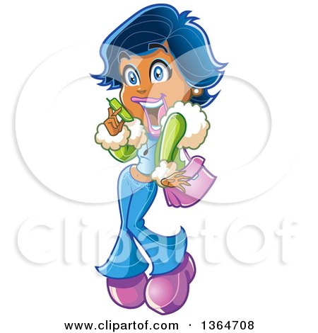Clipart of a Cartoon Excited Black Woman Gossiping on a Cell Phone - Royalty Free Vector Illustration by Clip Art Mascots