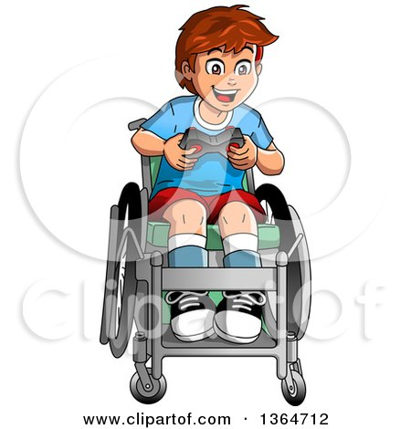 Clipart of a Cartoon Happy Brunette White Boy in a Wheelchair, Playing a Video Game - Royalty Free Vector Illustration by Clip Art Mascots
