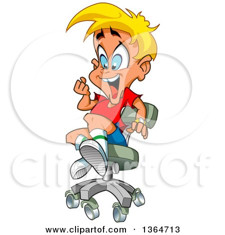 Tremendous Clipart Of A Cartoon Excited Blond White Boy Playing In An Gmtry Best Dining Table And Chair Ideas Images Gmtryco