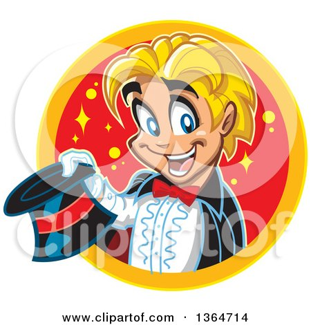 Clipart of a Cartoon Blond White Boy Magician Holding a Top Hat and Emerging Through a Circle - Royalty Free Vector Illustration by Clip Art Mascots