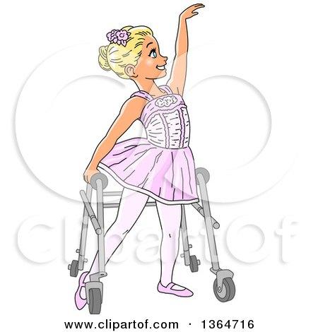 Cartoon Blond White Special Needs Girl Dancing Ballet in Her Walker Posters, Art Prints