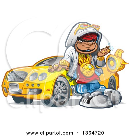 Clipart of a Cartoon Black Hip Hop Guy Leaning Against His Car and Decked out in Bling - Royalty Free Vector Illustration by Clip Art Mascots