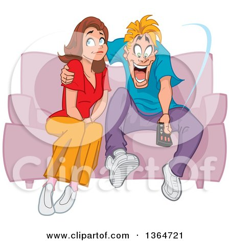 Clipart Of A Cartoon Unhappy Brunette White Woman Sitting On A Sofa Being Ignored By Her Man Who Is Obsessed With Tv Royalty Free Vector Illustration