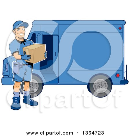Clipart of a Cartoon Handsome Muscular Delivery Man Holding a Box by a Van - Royalty Free Vector Illustration by Clip Art Mascots