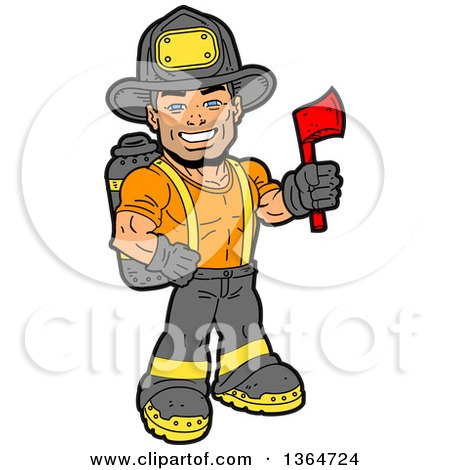 Clipart of a Cartoon Handsome Muscular Fireman Holding an Axe and Smiling - Royalty Free Vector Illustration by Clip Art Mascots