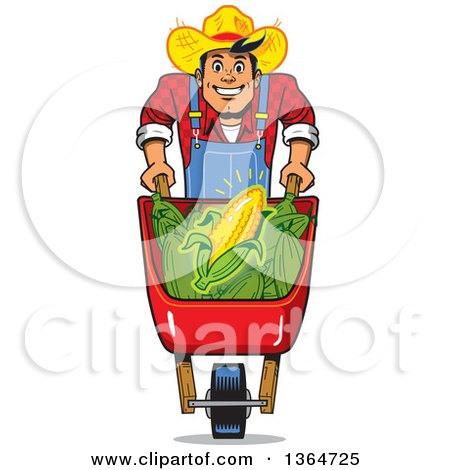 Clipart of a Cartoon Happy White Male Corn Farmer Pushing a Wheelbarrow - Royalty Free Vector Illustration by Clip Art Mascots