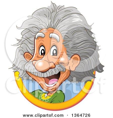 Clipart of a Cartoon Happy Albert Einstein Vignette - Royalty Free Vector Illustration by Clip Art Mascots