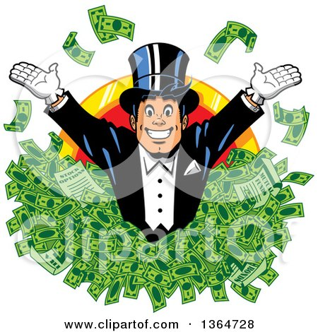 Clipart of a Cartoon Wealthy White Man Wearing a Tux and Top Hat, Popping out of Cash Money over a Coin - Royalty Free Vector Illustration by Clip Art Mascots