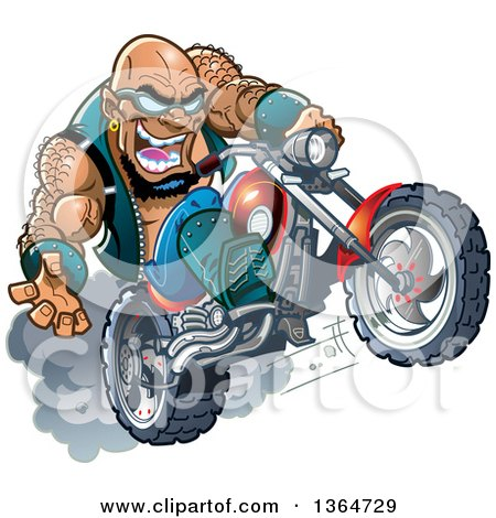 Clipart of a Cartoon Crazy Bald Black Biker Dude Wearing Sunglasses and Popping a Wheelie on His Motorcycle - Royalty Free Vector Illustration by Clip Art Mascots