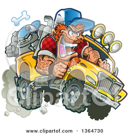 Clipart of a Cartoon Crazy Red Haired White Redneck Man Driving a Bulldog in a Pickup Truck - Royalty Free Vector Illustration by Clip Art Mascots