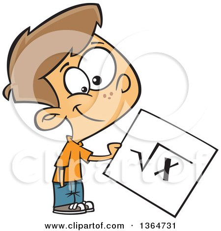 Clipart of a Happy Brunette White School Boy Holding a Square Root Page - Royalty Free Vector Illustration by toonaday