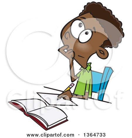 Cartoon Clipart of a Black School Boy Writing and Thinking While Figuring out a Math Problem - Royalty Free Vector Illustration by toonaday