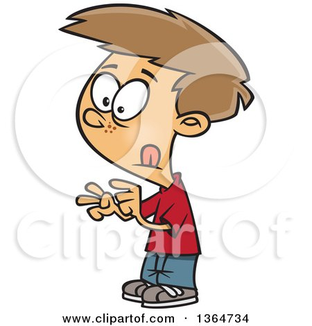 Cartoon Clipart of a Dirty Blond White School Boy Counting with His Fingers - Royalty Free Vector Illustration by toonaday
