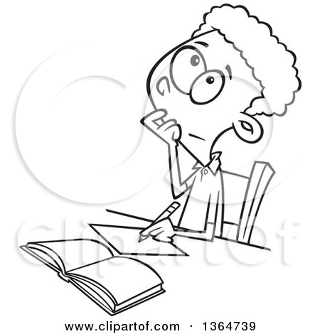 Cartoon Clipart of a Black and White School Boy Writing and Thinking While Figuring out a Math Problem - Royalty Free Vector Illustration by toonaday