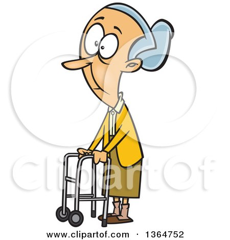 Cartoon Clipart of a Caucasian Senior Woman Using a Walker to Get Around - Royalty Free Vector Illustration by toonaday