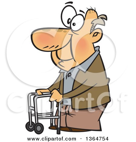 Cartoon Clipart of a Happy Old Caucasian Man Using a Walker to Get Around - Royalty Free Vector Illustration by toonaday