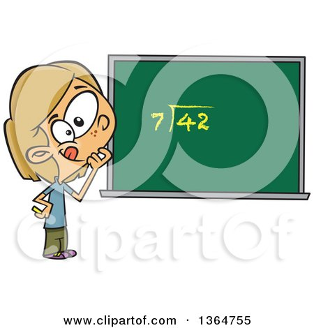 Cartoon Clipart of a Dirty Blond White School Girl Pondering over an Equation on a Chalk Board - Royalty Free Vector Illustration by toonaday