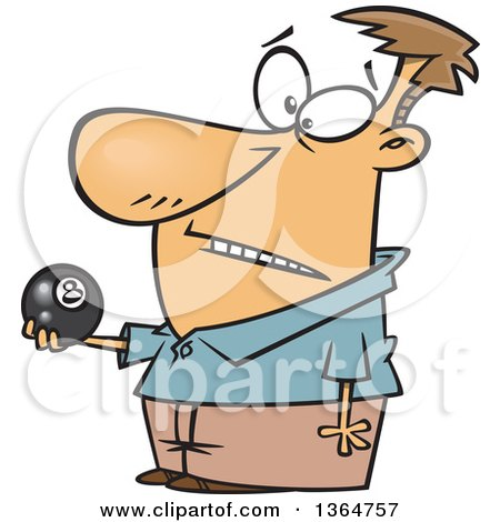 Cartoon Clipart of a Caucasian Man Holding an Eight Ball - Royalty Free Vector Illustration by toonaday