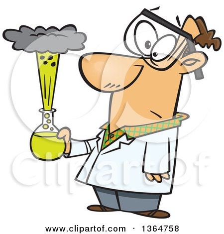 Cartoon Clipart of a Caucasian Male Scientist Holding an Exploding Concoction - Royalty Free Vector Illustration by toonaday