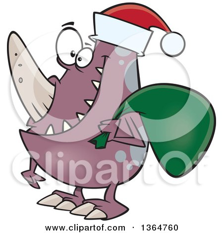Cartoon Clipart of a Happy Christmas Monster Wearing a Santa Hat and Carrying a Sack - Royalty Free Vector Illustration by toonaday