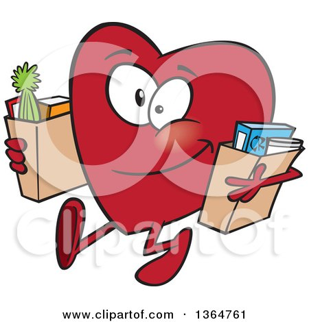 Cartoon Clipart of a Giving Heart Character Carrying Bags of Groceries to Donate - Royalty Free Vector Illustration by toonaday