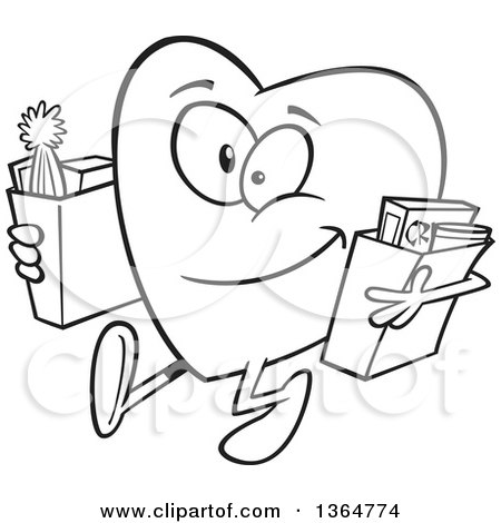 Cartoon Clipart of a Black and White Giving Heart Character Carrying Bags of Groceries to Donate - Royalty Free Vector Illustration by toonaday