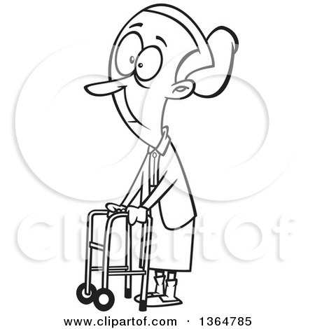 Cartoon Clipart of a Black and White Senior Woman Using a Walker to Get Around - Royalty Free Vector Illustration by toonaday