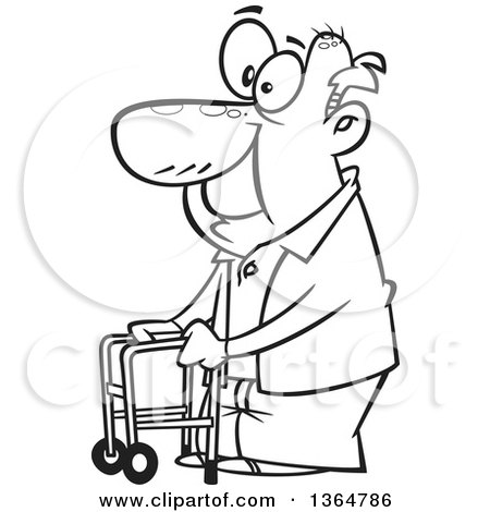 Cartoon Clipart of a Black and White Happy Old Man Using a Walker to Get Around - Royalty Free Vector Illustration by toonaday