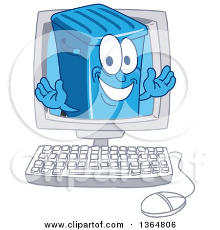 Clipart of a Cartoon Blue Rolling Trash Can Bin Mascot Emerging from a Computer Screen - Royalty Free Vector Illustration by Toons4Biz