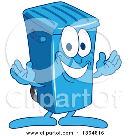 Clipart of a Cartoon Blue Rolling Trash Can Bin Mascot Welcoming - Royalty Free Vector Illustration by Toons4Biz