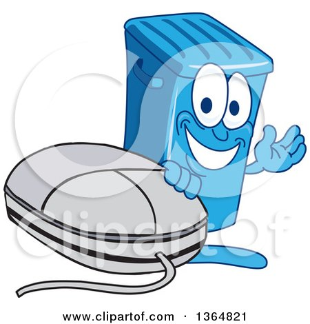 Clipart of a Cartoon Blue Rolling Trash Can Bin Mascot Waving by a Computer Mouse - Royalty Free Vector Illustration by Toons4Biz