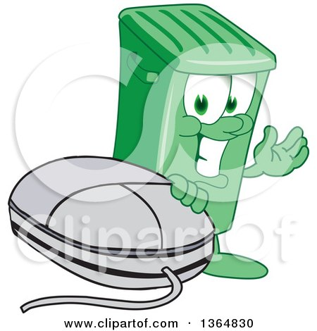 Clipart of a Cartoon Green Rolling Trash Can Bin Mascot Presenting by a Computer Mouse - Royalty Free Vector Illustration by Toons4Biz