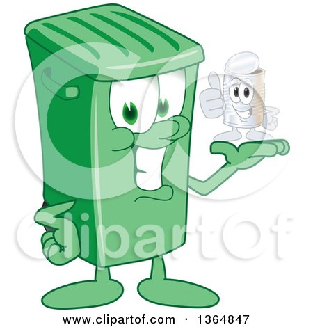 Clipart of a Cartoon Green Rolling Trash Can Bin Mascot Holding a Tin Can - Royalty Free Vector Illustration by Toons4Biz